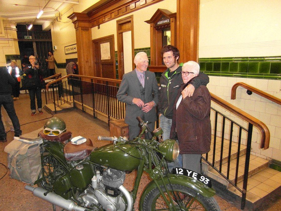 Royal Signals Blitz despatch rider George Brown with wife Thelma and TT racer Guy Martin