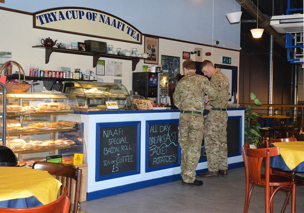 Royal Signals Museum NAAFI Cafe 1940s feel. Hot and cold meals, drinks and sandwiches