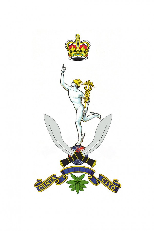 The official painted design of the Cap Badge of Queen's Gurkha Signal Regiment