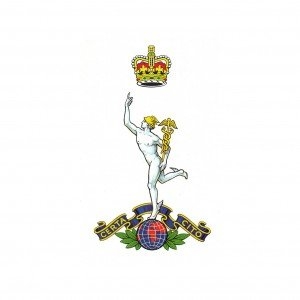 The official painted design for the Corps of The Royal Signals Cap Badge as accepted by the College of Heraldry.