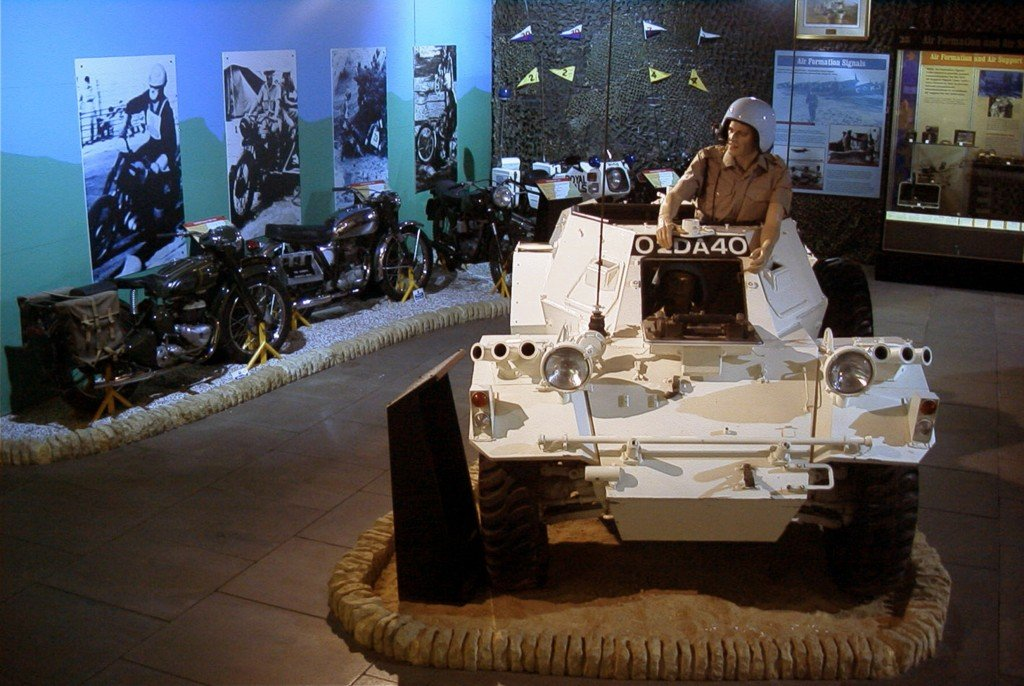 Royal Signals Museum Blandford display of Ferret and of motor bikes