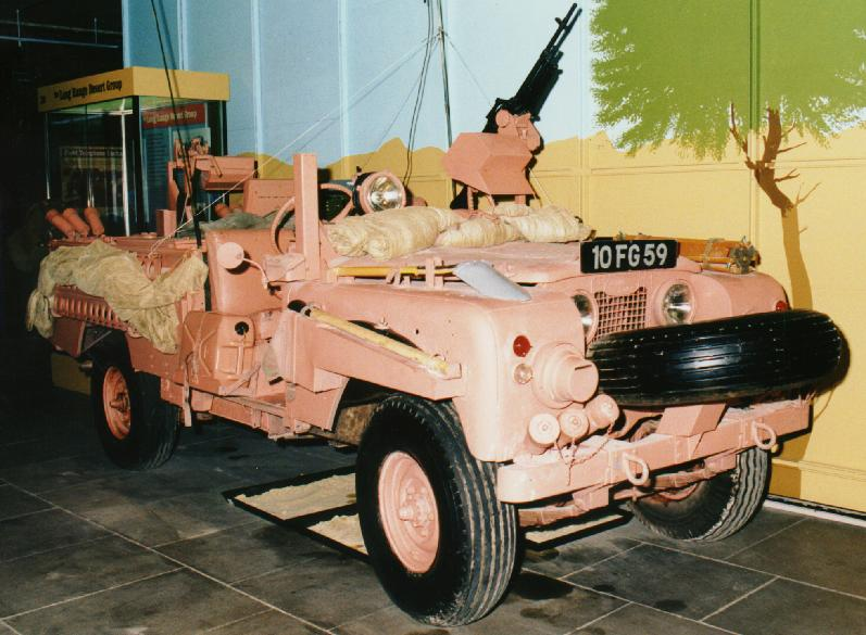 Royal Signals Museum SAS Pink Panther, long wheel base Land Rover c. 1960.