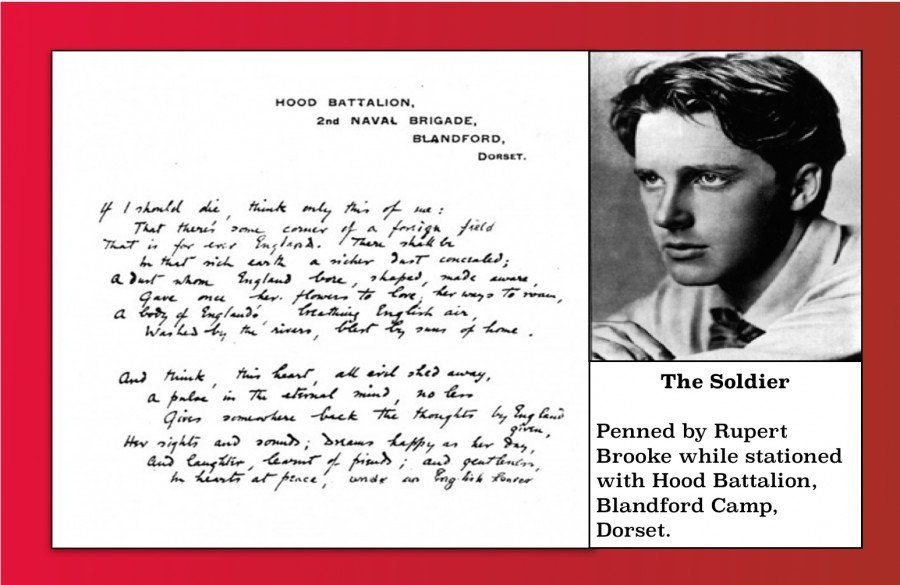 The Soldier written by Rupert Brooke while stationed at Blandford Camp