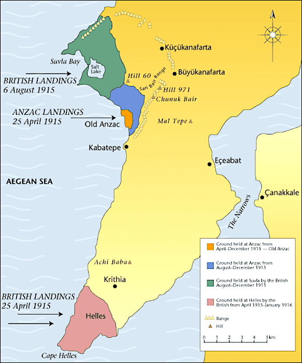 Allied positions at Suvla Bay Anzac Cove and Cape Helles