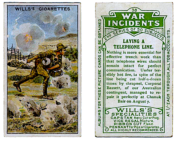 Cigarette card of Gallipoli signals work at battle of Chunuk Bair