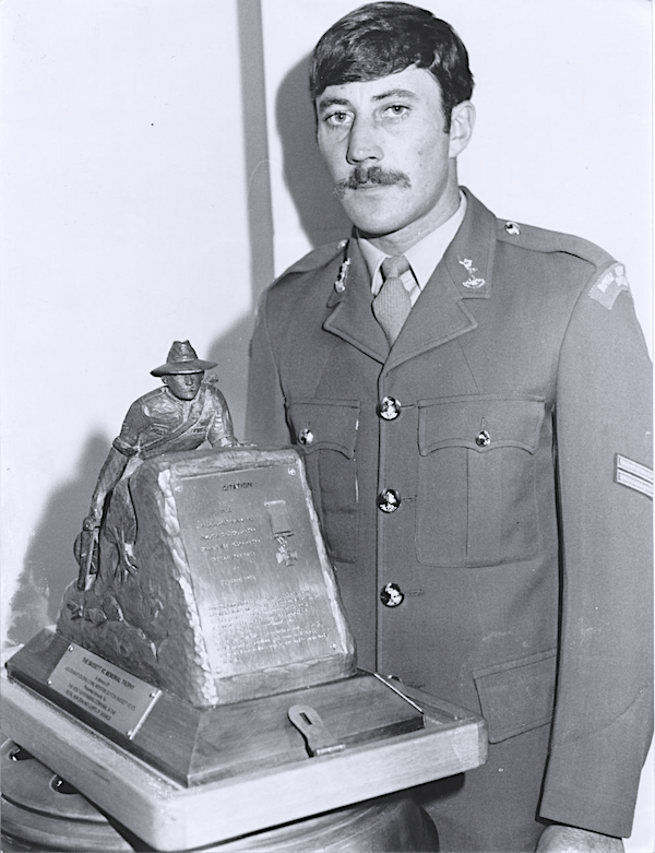 Corporal Michael Fisher wins the Cyril Bassett VC Memorial Trophy in 1987